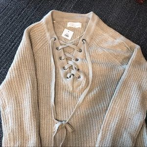 CJ Cruz Lace Up Sweater NWT Size Small